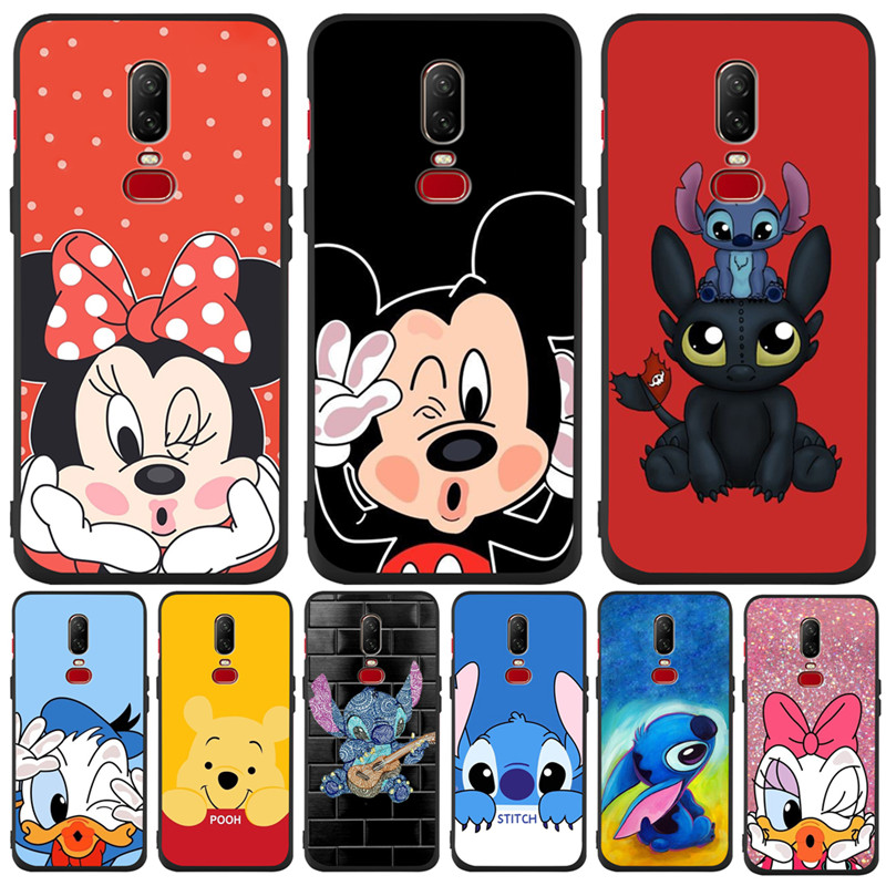 Luxury Luxury Mickey Minnie Stitch Custom For <font><b>One</b></font> <font><b>plus</b></font> 5 5T 7 Pro Oneplus <font><b>6</b></font> 6T <font><b>phone</b></font> Case <font><b>Cover</b></font> Funda Coque Etui Donald Duck image