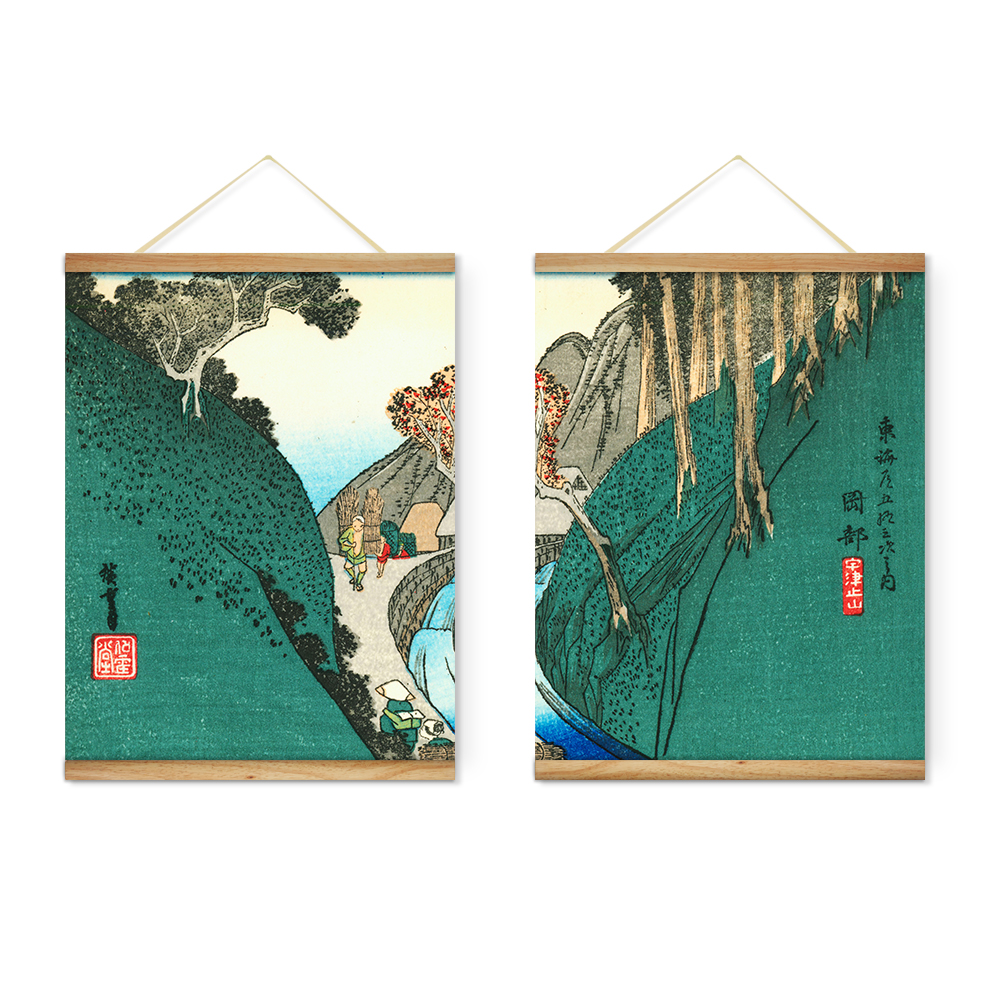 Wooden Scroll Wall Art Japanese Style Green Mountains Decoration Wall Art Pictures