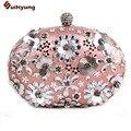 New Women Crystal Flowers Evening Bag Fashion DIY Diamond Elegant Shoulder Handbag Sweet Oval Shape Party Clutch Bag Dinner Bag