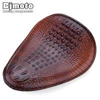 BJMOTO Black/Brown Motorcycle Retro Crocodile Leather Style Solo Seat Cover Pad For Harley Sportster Bobber Chopper Custom