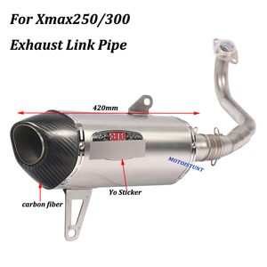 Image 5 - Per Yamaha Xmax250 Xmax300 Completa del Sistema di scarico Moto Fuga Modificato Con Frontale in acciaio inox Metà di Collegamento Tubo di Scivolare su