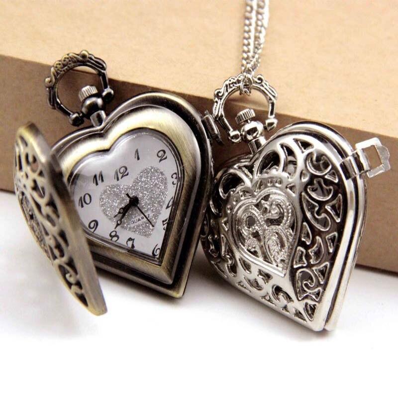 Elegante Schwarz Hohl Herz Form Quarz Fob Taschenuhr Mit Pullover Halskette Kette Geschenk Zu Frauen Mädchen GroßEr Ausverkauf Uhren