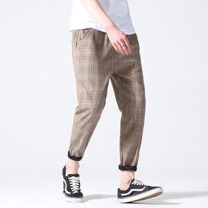 Image 4 - Drop Shipping Autumn Men Plaid Pants Casual Trousers Man Cotton Slim Fit Men Skinny Grid Joggers LBZ09