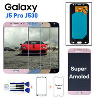 Super AMOLED LCD For Samsung Galaxy J5 Pro 2017 J530 J530F LCD Screen Display Touch With Brightness Adjustment