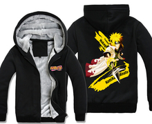 Wholesale cartoon clothing Naruto swea plus velvet thickening clothes zipper cardigan hooded coat male