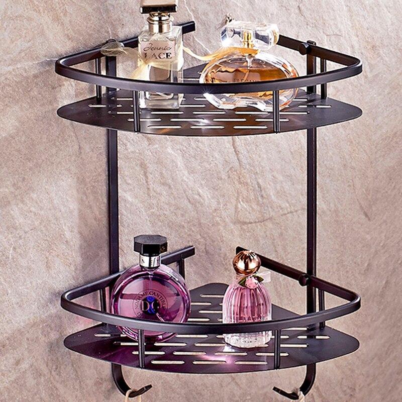 Oil Rubbed Bronze Bathroom Kitchen Layers Brass corner shelf Storage ...