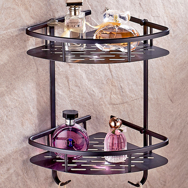 Oil Rubbed Bronze Bathroom Kitchen Layers Brass corner shelf Storage ...