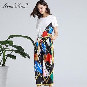 Image 5 - MoaaYina Fashion Designer Set Spring Summer Women Short sleeve Ribbon T shirt+Stripe Print Wide leg bell bottoms Two piece suit