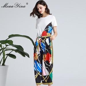 Image 5 - MoaaYina ensemble de créateurs de mode printemps été femmes à manches courtes ruban T shirt + rayure imprimé large jambe cloche bas costume deux pièces