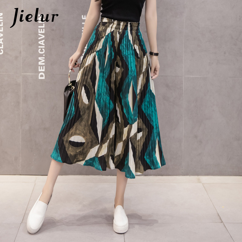 Jielur Summer Dots Flowers Chiffon   Wide     Leg     Pants   Female Bohemia Style Pleated Women's   Pants   S-XL Charming Pantalones Capri Lady