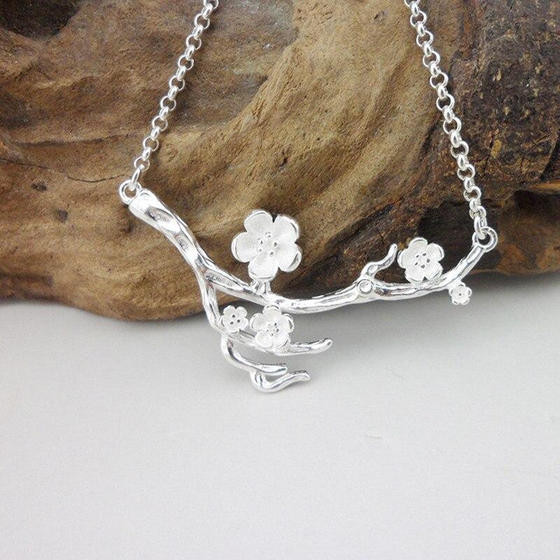 Pendentif collier faux fleurs 999 argent Sterling fait à la main Miao bijoux I Just S soeur cadeaux d'anniversaire nouvel an pendentif en argent
