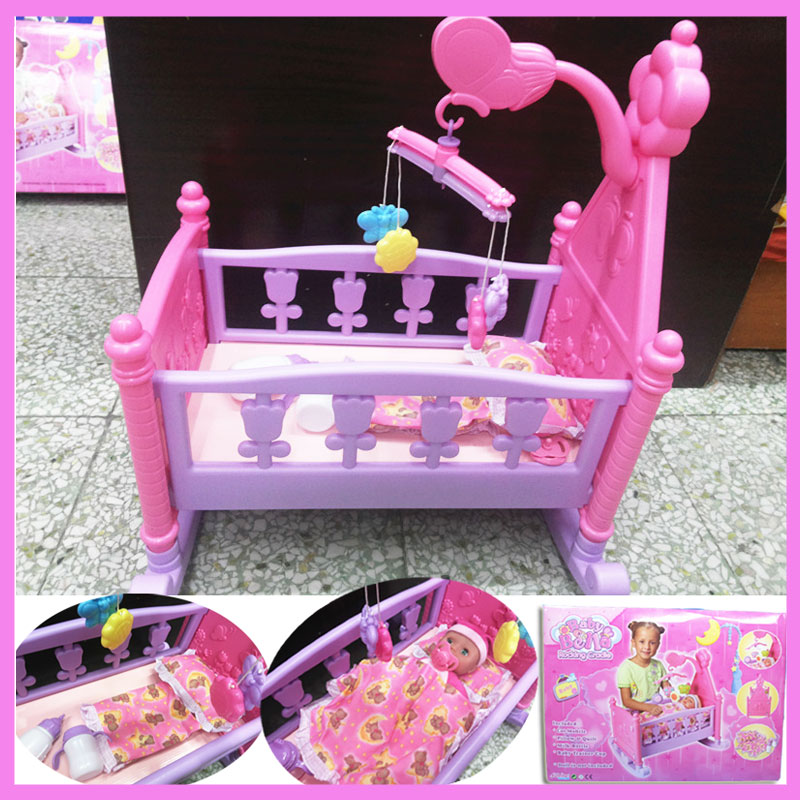 Creative Baby Girls Pretend Play Furniture Toys Dolls Bed with Quilt Pillow Hanging Bells 2 Milk Bottles Child Gift Toys Bed Set giraffe rabbit bed bells infant toy long hanging animal baby child rattle bed bells toys for gril boy gift 50% off