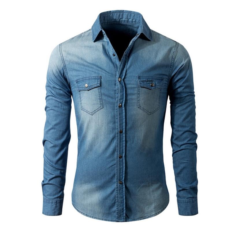 60f3f676d3 Wysokiej jakości męska koszula dżinsowa Wiosna jesień nowy 100% bawełna  męska business casual camisa masculina koszuli z długim rękawem