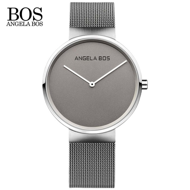 Top Luxury ANGELA BOS Brand Ultra Thin Simple Nordic Design Couple Watch Men Sapphire Weave Stainless Steel Waterproof Watches 183 61 0 6cm tpe non slip yoga mat exercises mat home gym yoga fitness exercise mats mattress pad environmental tasteless