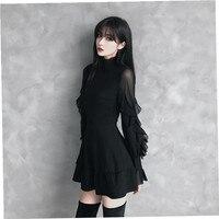 Sexy Women Gothic Punk Lace Mini Dress Long Sleeve Sexy Black Dress Fashion Dresses Female