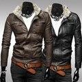 Короткий тонкий дизайн мужской стенд воротник случайные мотоцикл кожаной одежды bodycon мужская куртка верхняя одежда пальто