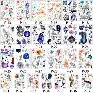 Image 3 - 1000 pièces en gros imperméable temporaire tatouage autocollant 3D décalque fleur hibou aigle corps Art tatouage autocollant Sexy maquillage produits