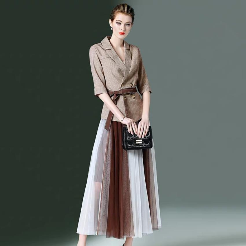 Engaland style blazer + pleated skirts sets female half Sleeve double breasted Tops + High Waist hit color skirts Suits wq1282