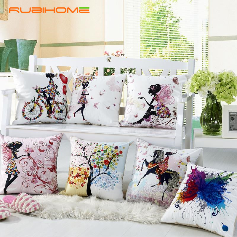 RUBIHOME Wholesasle(7pieces/lot) Decorative Throw Pillow Case Cushions Covers Digital Printing Flower Fairy Bike Butterfly