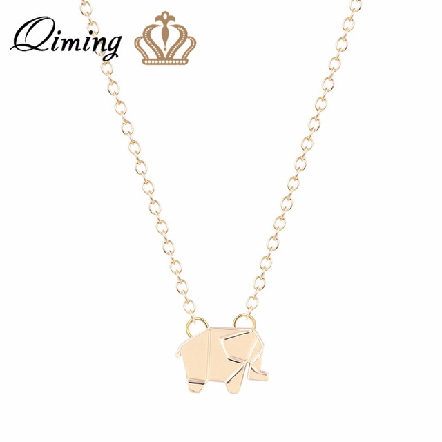 Excellent QIMING Cute Elephant Necklace Women Lovely Origami Charm Necklace  NS31