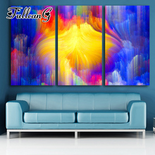 FULLCANG diy color abstract landscape diamond painting 3pcs mosaic cross stitch full drill 5d embroidery handmade hobby G1181