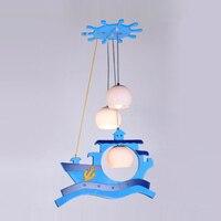 Современный кабинет подвесные светильники малыша Спальня Синий Пиратский корабль подвесной светильник Творческие подвески лампы