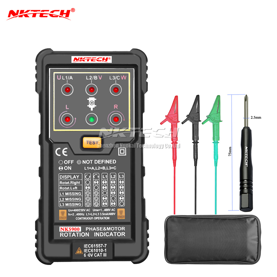 NKTECH NK5900 Three Motor Phase Rotation Indicator Meter Sequence Tester Digital Multimeter Rotary LED Magnetic Field Reverse mastech ms5900 3 motor meter sequence tester led field rotation phase indicator