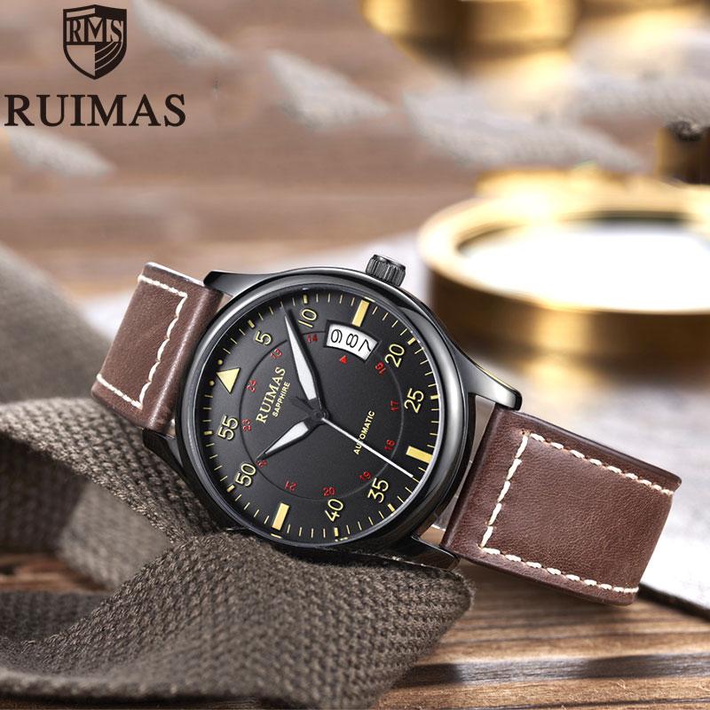 Ruimas автоматические механические часы мужские роскошные классические бизнес Miyota Лидирующий бренд светящиеся мужские часы в ретро стиле Relogio - 6