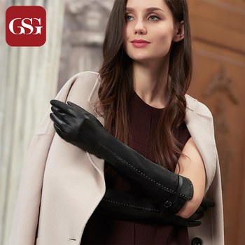 GSG Women Long Genuine Leather Gloves Fashion Studded Patchwork Winter Warm Lined Elbow Driving Gloves Slim Black Mittens women s genuine leather gloves black sheepskin finger driving gloves spring autumn thin velvet lined warm fashion mittens tb13