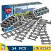 City Trains Flexible Tracks And Switch Track Set Model Building Blocks Bricks Curved Rails Kit Toys
