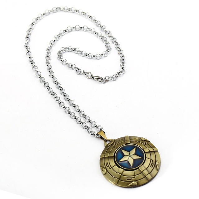 Captain America Necklace The Avengers Rotatable Pendant Fashion Stainless Steel Chain Necklaces Gift Jewelry Accessories 3