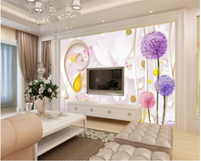 beibehang Customize any size stylish waterproof wall paper romantic dandelion TV background papel de parede 3d wallpaper