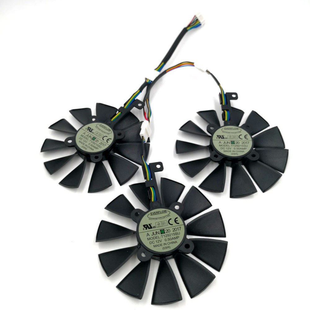 Original EVERFLOW T129215SU Graphics Replacement Fan or Cable for ASUS STRIX R9 390X 390 RX480 RX580 GTX 980Ti 1060 1070 1080 image