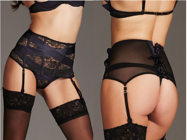 cdaf6c5eb 2015 New Women Sexy Sheer Floral Lace Solid Garter Belt Thong Set High  Waist Sexy Suspender Belt for Stocking 2pcs Set R1171