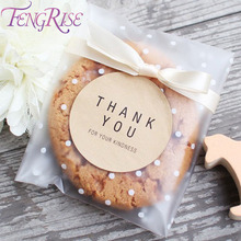 FENGRISE Small Plastic Bags Biscuits Transparent Cellophane Bag For Birthday Goodies Gift Candy Cookie