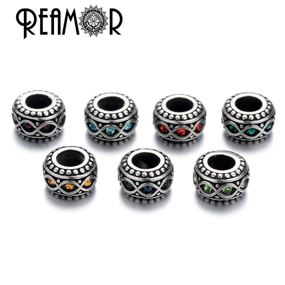 Reamor 5 шт./лот античный серебряный тон прокладки Rhinestone кольцо Бусины Европейский Бусины для Для женщин Талисманы Браслеты ювелирных изделий