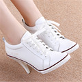 2017 White Fashion Ladies Genuine Leather High Heels Lace Up Ankle Boots Casual Shoes Women Pumps Zapatos Mujer Plus Size 34-41