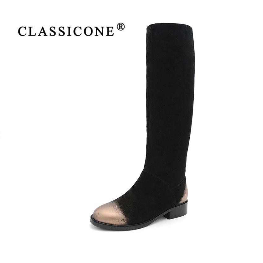 CLASSICON femme d'hiver chaussures à hauteur du genou bottes en cuir véritable suede appartements chaud laine femmes chaussures de marque de mode style neige bottes