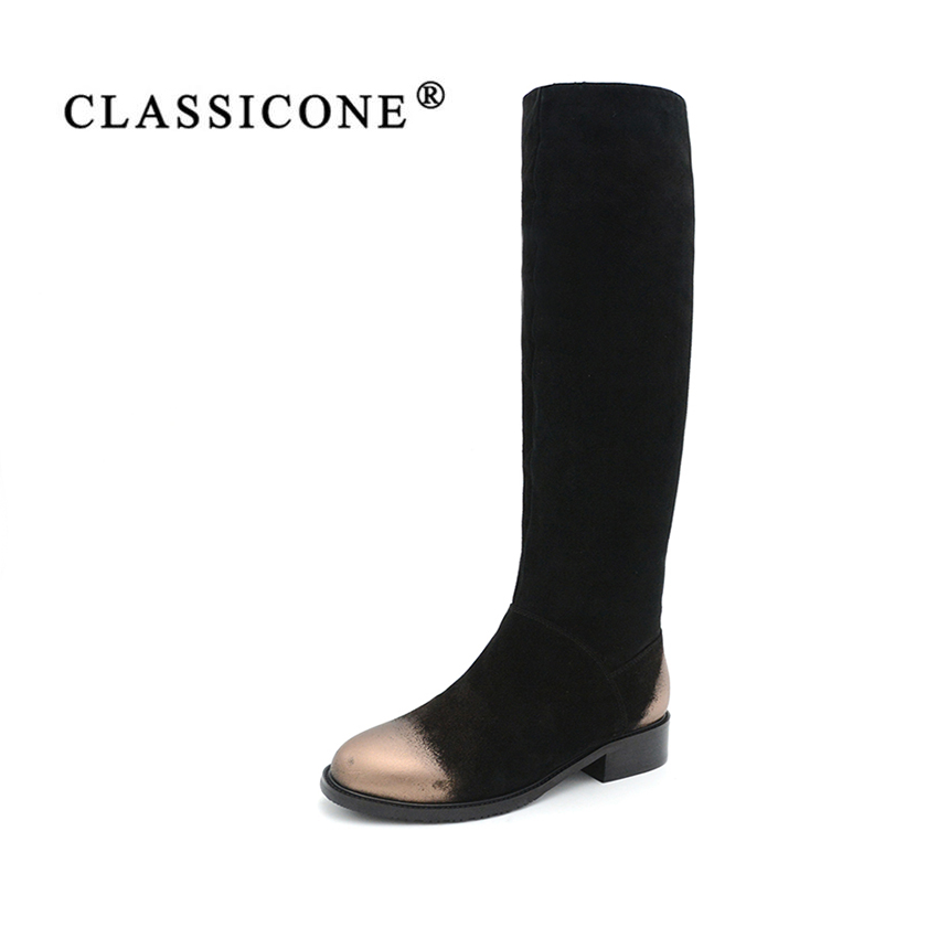 CLASSICON woman winter shoes knee-high boots genuine leather suede flats warm wool women's shoes brand fashion style snow boots 2017 free genuine leather motorcycle boots biker shoes women pointed snow boots brand shoe famous designer woman flats