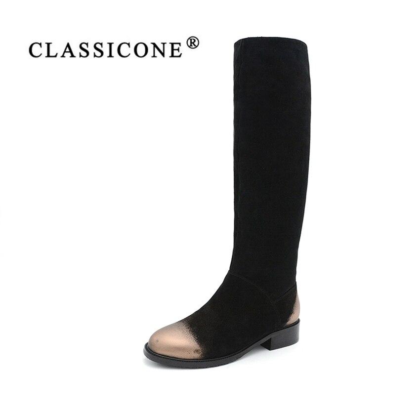 CLASSICON zapatos de invierno mujer rodilla botas de gamuza de cuero genuino pisos de lana caliente zapatos de marca moda estilo nieve