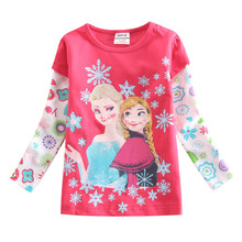 Nova 2016 hot sale fuchsia O-neck baby girls t-shirt with cute cartoon printed spring autumn long sleeves