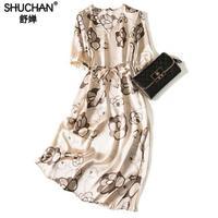 Shuchan High Quality Natural Silk Summer Dress Prairie Chic Print Sashes V neck Dresses Women Short Sleeve Clothing Mid calf