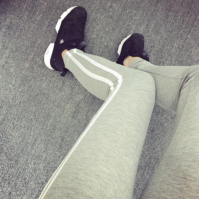 2018 Women Lady Activewear Legging Spring Summer light grey Pant Autumn Mid Waist Leggin ...