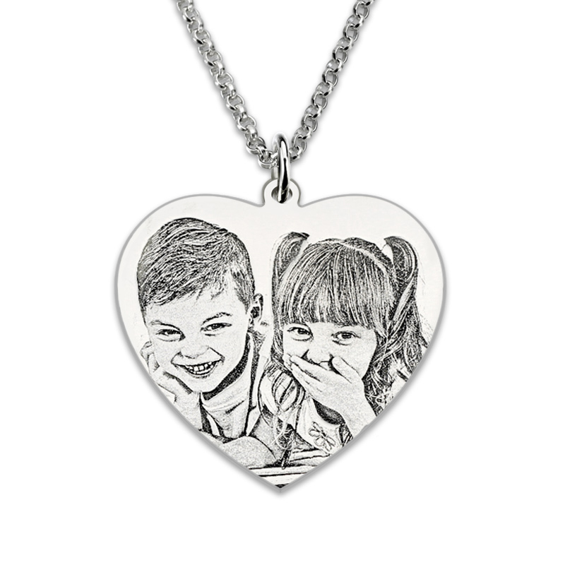 Photo Engraved Heart Necklace Sterling Silver Personalized Portrait Picture Heart Photo Charm Gift For Her