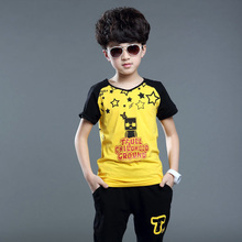 Boys Pattern Vestido Sets Cartoon Print Casual Baby Boy Clothes Suits Blouse + Pants 2 Pieces Kids Summer Sets