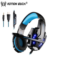 Kotion Each G9000 wired headphones Microphone gaming headset gamer luminous wired earphone with mic for phone Laptop ps4 tablet
