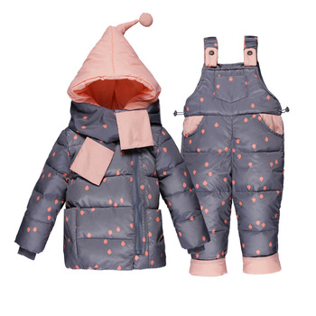 цена на Baby girls winter outerwear coats kid thicken down snow wear overalls clothing set infant jumpsuit snowsuit