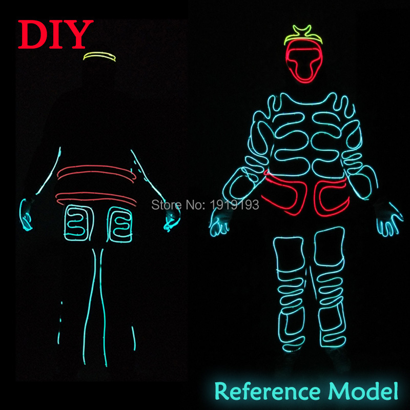 Fancy Dress Accessory Decor EL Thread New Years Day Decor Led Neon Light Bar Night Holiday Lighting Monkey King for Movie Club new arrival colorful neon led bulbs melbourne shuffle dance costume night lamp el wire bright ghost step suit for concert party