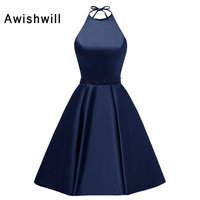 New Arrival Juniors Graduation Dresses Party Halter Beaded Satin Lace up Back A line Short Homecoming Dresses