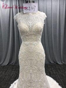 Image 3 - ILoveWedding/длинное кружевное платье в богемном стиле с вышивкой в виде Русалочки, свадебные платья, boho Vestidos De Noiva De Luxo 2018